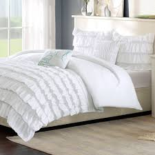 White Ruffled Curtains by Bedroom White Ruffle Comforter With Grey Curtains And Stool For