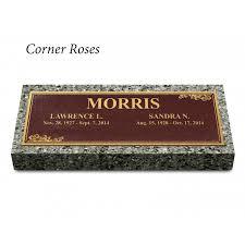 granite grave markers grave markers corner roses companion w bronze plaque w granite