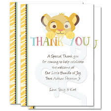 baby shower thank you cards lion king baby shower personalized thank you cards