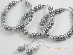 pink pearl bracelet images Grey of 8 bracelet and earrings bridesmaid pearl bridesmaid jpg