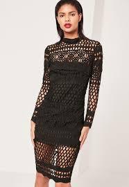 black dress uk black lace high neck midi dress missguided
