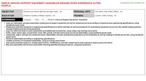 Sample Assembler Resume by Ground Support Equipment Assembler Job Title Docs