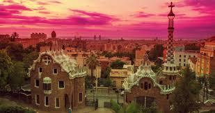barcelona city view barcelona landmarks morning in park guell designed by antoni gaudi
