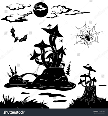 halloween black and white background halloween cartoon landscape magic castle mushroom stock