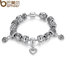 women bracelet heart images Bamoer antique silver charm fit pan bracelet bangle silver 925 jpg