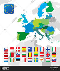 European Union Map by The European Union Map And All The Eu Countries Flags Stock Vector