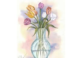 How To Paint A Vase Watercolour Painting Tutorial Paint A Tulips In A Glass Vase