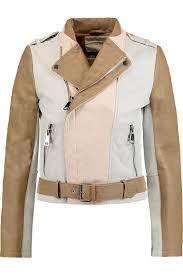 light brown leather jacket womens maje light brown color block textured leather jacket women s maje