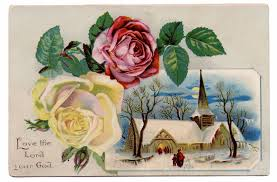 vintage clip art winter church scene with roses the graphics fairy