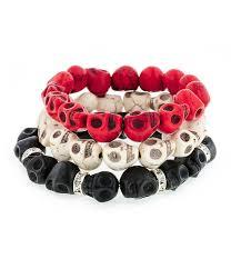 black skull bracelet images Day of the dead triple stack howlite skull bracelets cream red jpg