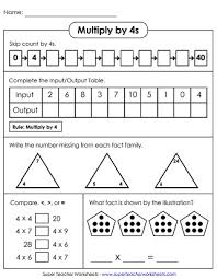 multiplication by 4s printables