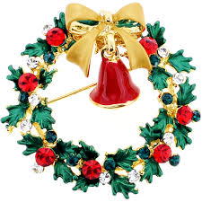 classic christmas wreath with bow u0026 bell swarovski crystal pin