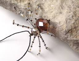 pretty beaded spider ornament brown clear