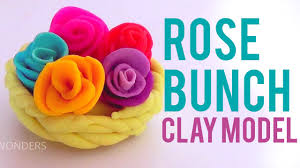 making of rose bunch with play doh clay learn flower how to