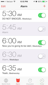 Iphone Alarm Meme - a friend showed me her wake up alarms funny