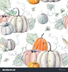 background for halloween menu watercolor pumpkins seamless pattern perfect thanksgiving stock