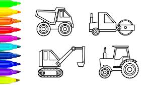 learn color for kids with construction truck coloring pages fun