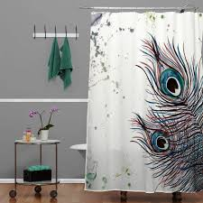 peacock feather shower curtain with monika strigel boho style and