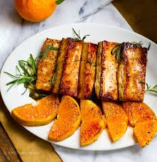 thanksgiving dinner citrus tamari tofu steaks with warm satsumas