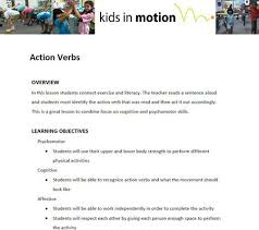 action verbs lesson plan english language arts and literacy