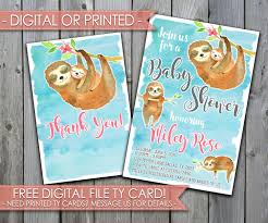 Message For Baby Shower Thank You Cards Sloth Baby Shower Invitation Sloth Baby Shower Invite Sloth Baby