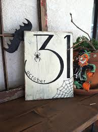 october 31 halloween hand painted wooden sign spider and