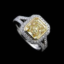 canary engagement rings yellow gold platinum halo split shank engagement ring