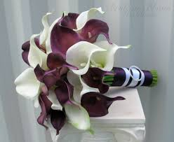 purple calla lilies calla wedding bouquet plum white real touch wedding flowers