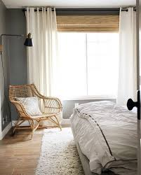 Roller Blinds Bedroom by Bamboo Roller Blinds And White Curtains Window Treatments For
