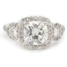 Vintage Style Cushion Cut Engagement Rings 7 5mm Cushion Cut Three Stone Antique Style Moissanite U0026 Diamond