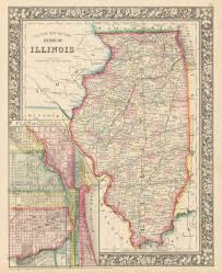 Chicago Illinois Map by Antique Map Of Illinois U0026 Chicago By Mitchell 1860 U2013 Hjbmaps Com