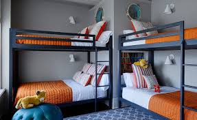 Kids Room With Navy Bunk Beds Transitional Boys Room - Navy bunk beds