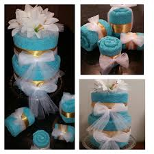 turquoise and gold towel cake and favors free shipping 2 tier