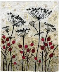 rose hips and umbels circle crafts metallic thread and hand