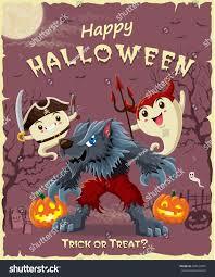 vintage halloween poster design set pumpkin stock vector 499525879
