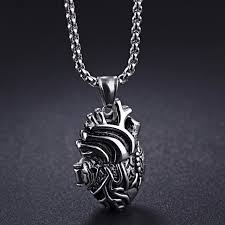 aliexpress heart necklace images Openable realistic human heart charm necklace in stainless steel jpg