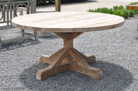 outdoor round reclaimed teak dining table mecox gardens