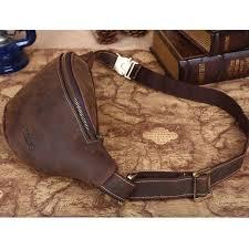 2017 handmade genuine leather rugged leather waist bag