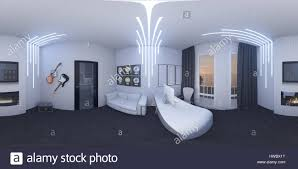 3d illustration of interior design of a home office in a space