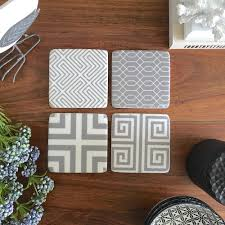 set of 4 grey coasters geometric patterned design drink coaster