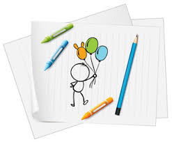 illustration of a paper with a drawing of balloons on a white