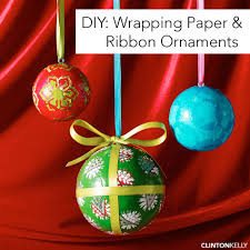 diy wrapping paper ribbon ornaments clinton