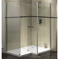 glass shower stall for tiny bathroom without door combined with
