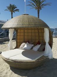 exterior round wicker beach daybed and canopy using white mattras