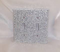 clear light switch cover silver glitter w clear ab iridescent rhinestone double toggle