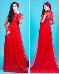 ao dai cuoi dep áo dài cưới đẹp màu đỏ phối voan mỏng quyến rũ