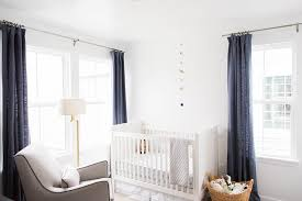 Linen Drapery Nursery With Blue Linen Curtains Transitional Nursery