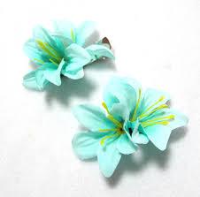 flower for hair of light blue green flower hair set of two
