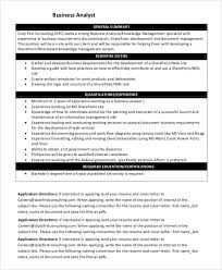 How To Write A Business Analyst Resume Sharepoint Business Analyst Cover Letter