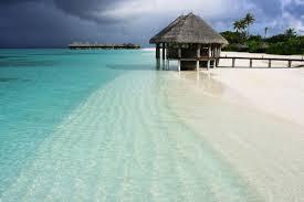 beach heaven maldives ocean sky white sand turquoise bungalow